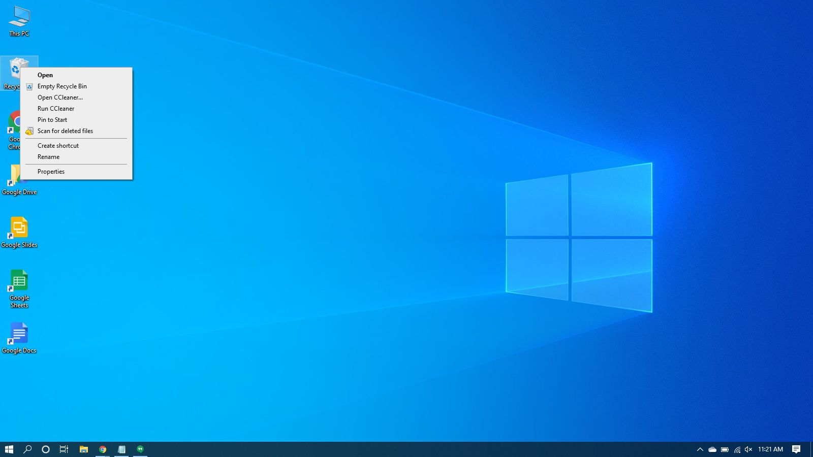 Right-click context menu of the recycle bin in Windows 10.