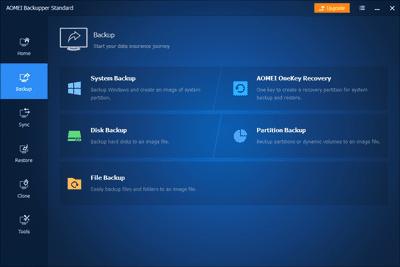 AOMEI Backupper Standard v6 backup tab