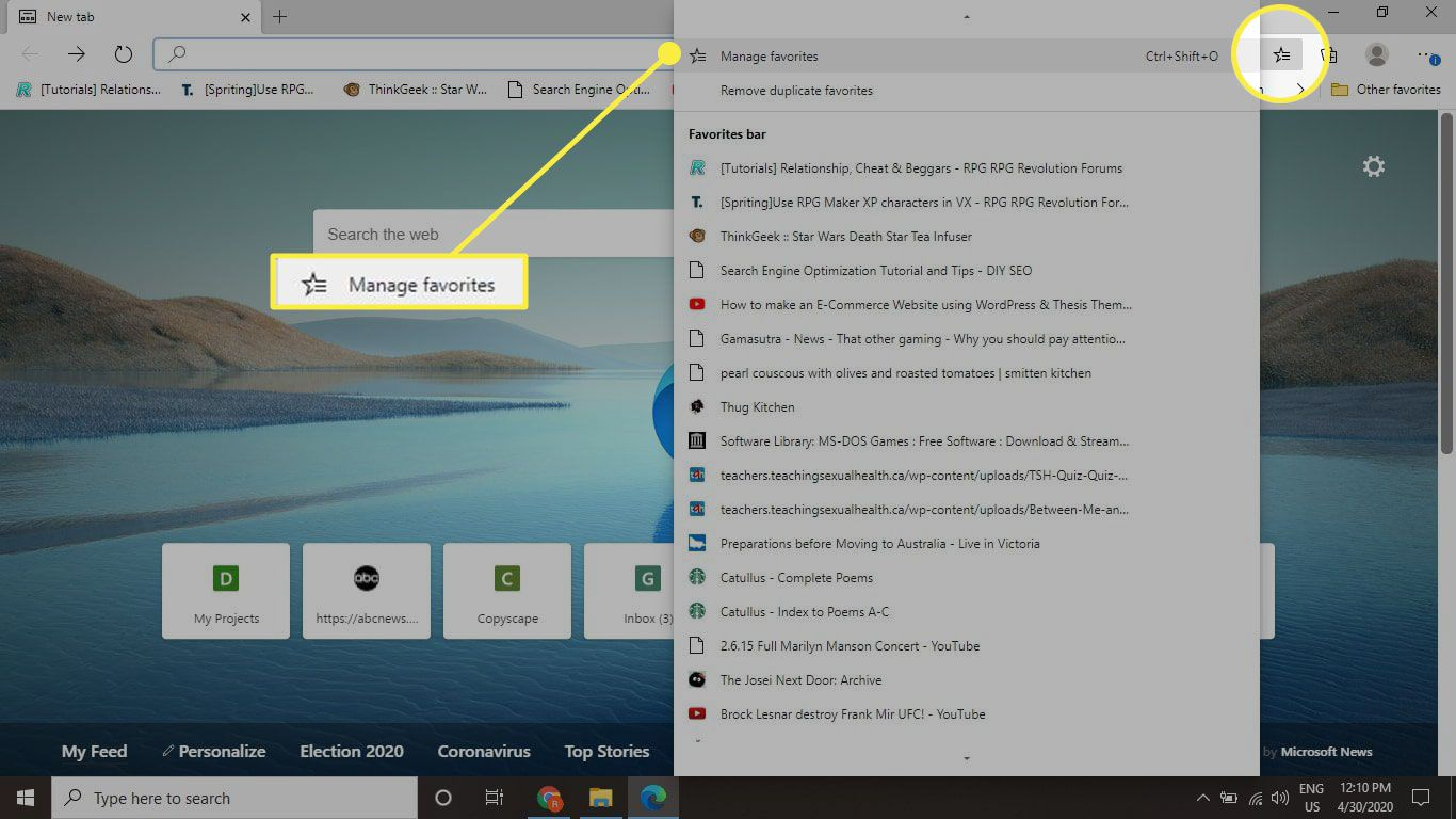Edge with the Favorites menu and Manage Favorites option highlighted