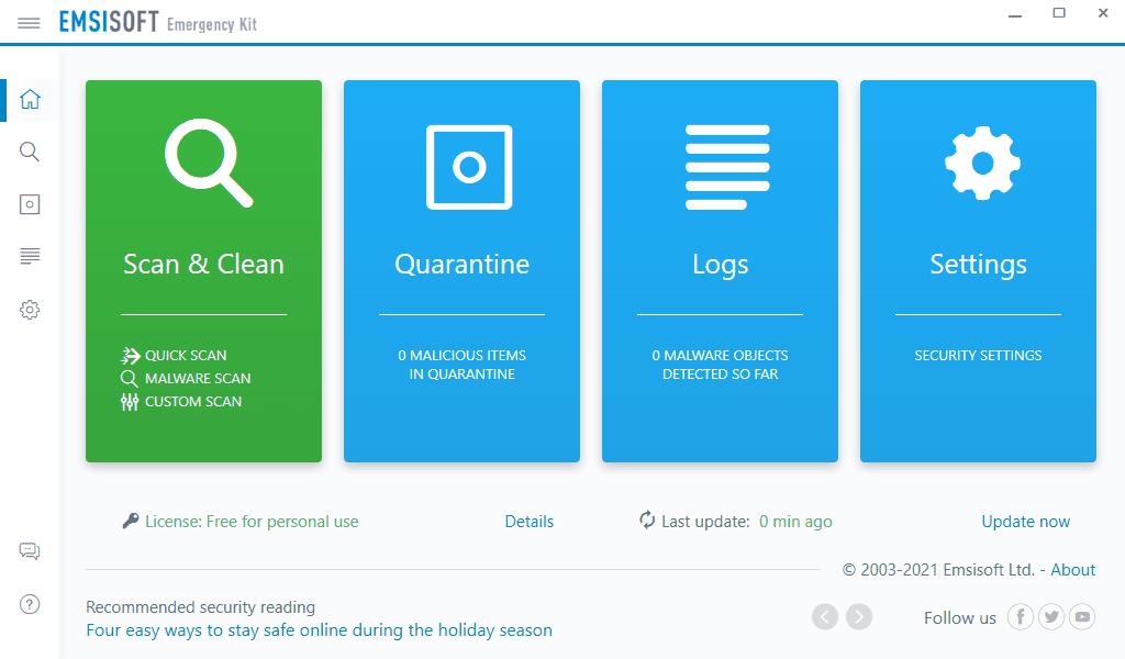Screenshot of Emsisoft Emergency Kit Scanner in Windows 10