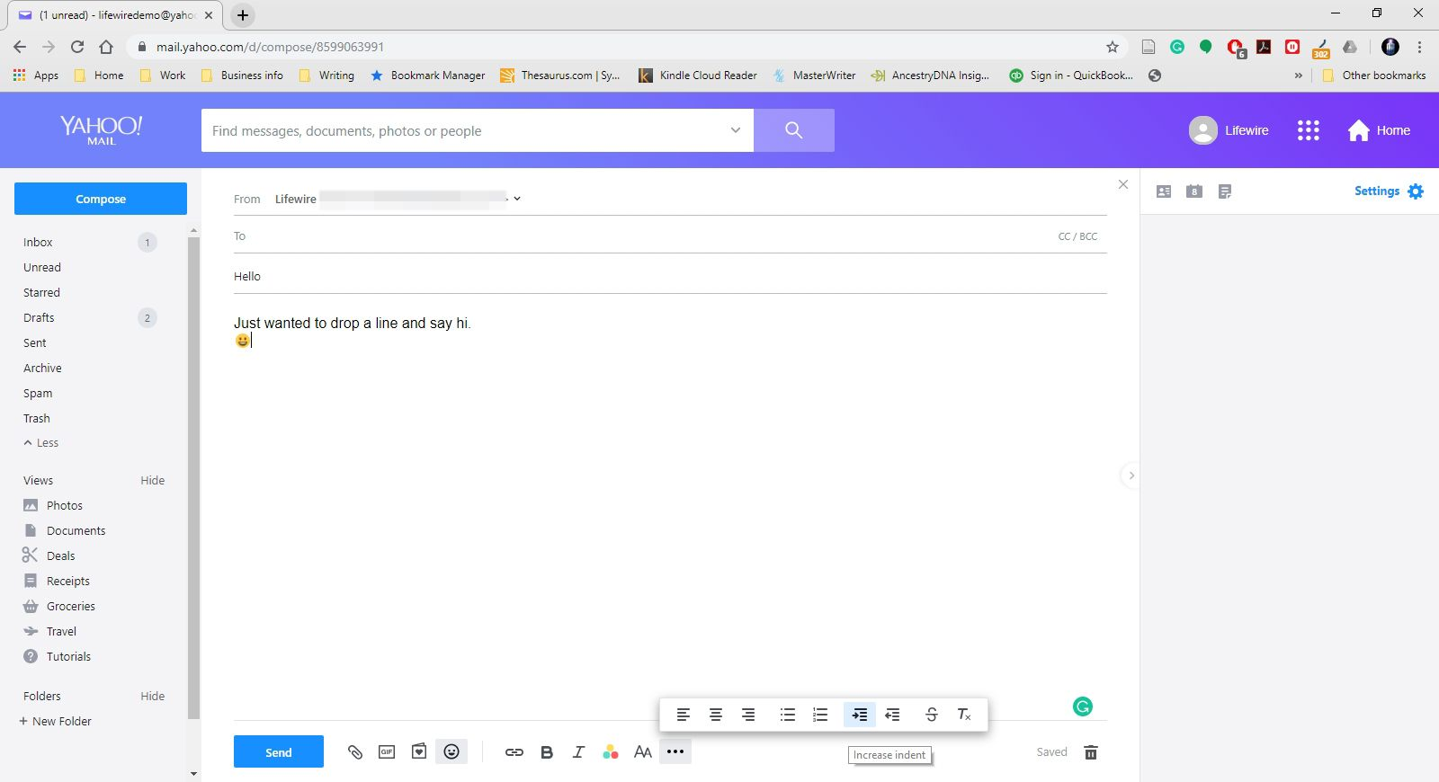 Additional options in the formatting toolbar in Yahoo Mail.