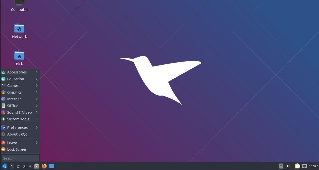 Lubuntu application menu
