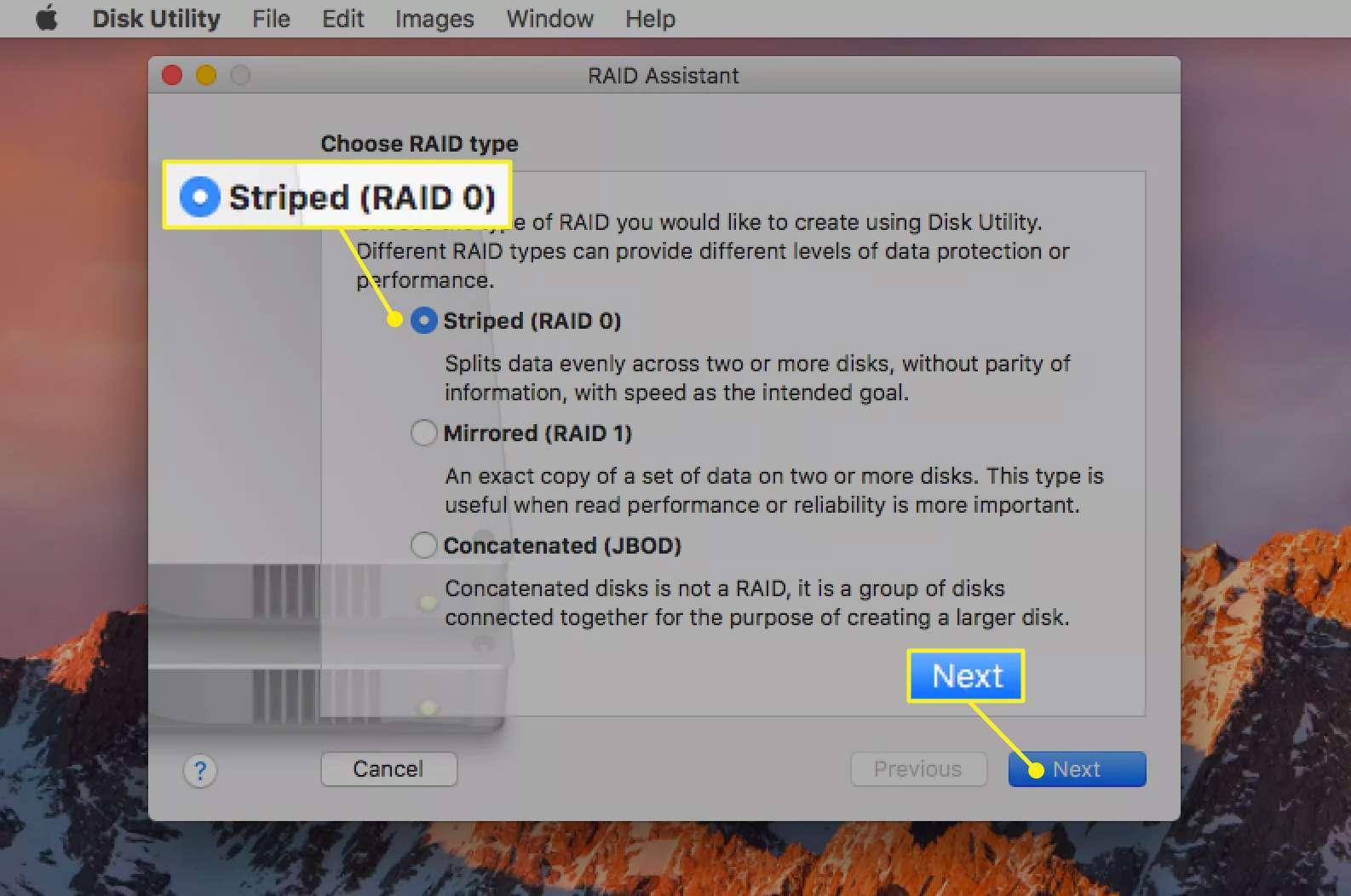 Striped (RAID 0) selected in Disk Utility