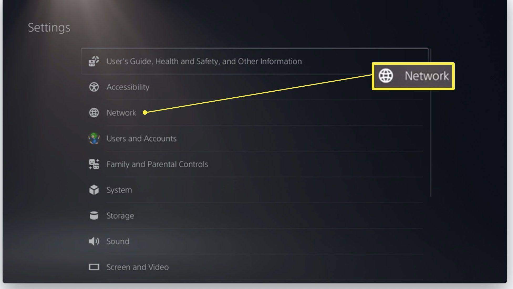 PlayStation 5 Settings with Network highlighted