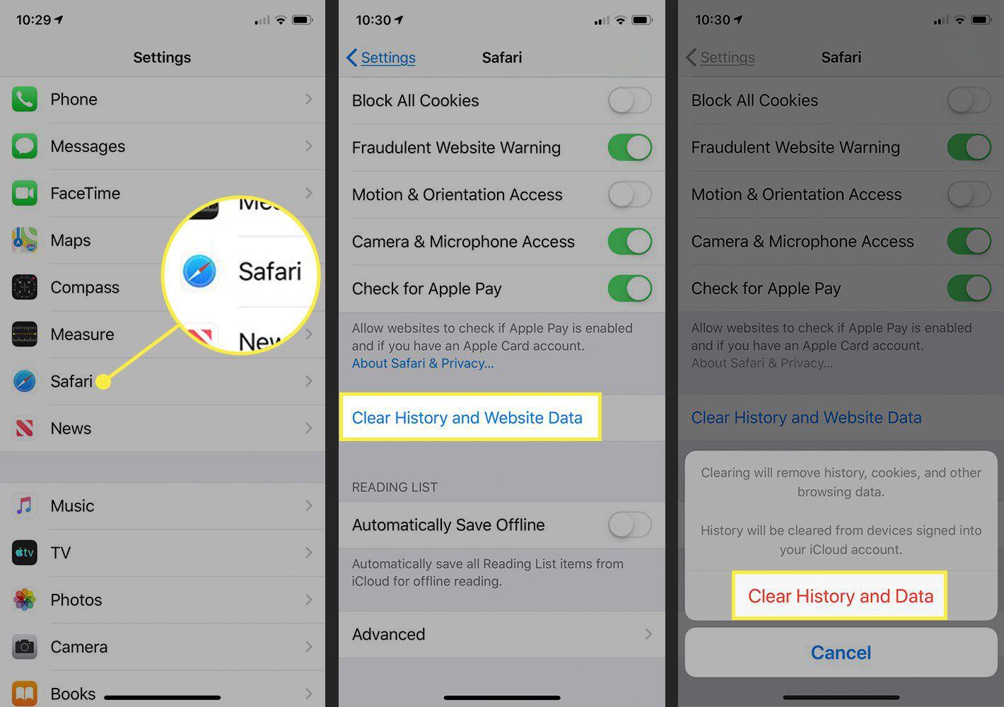 Screenshots of an iPhone showing how to delete Safari's data