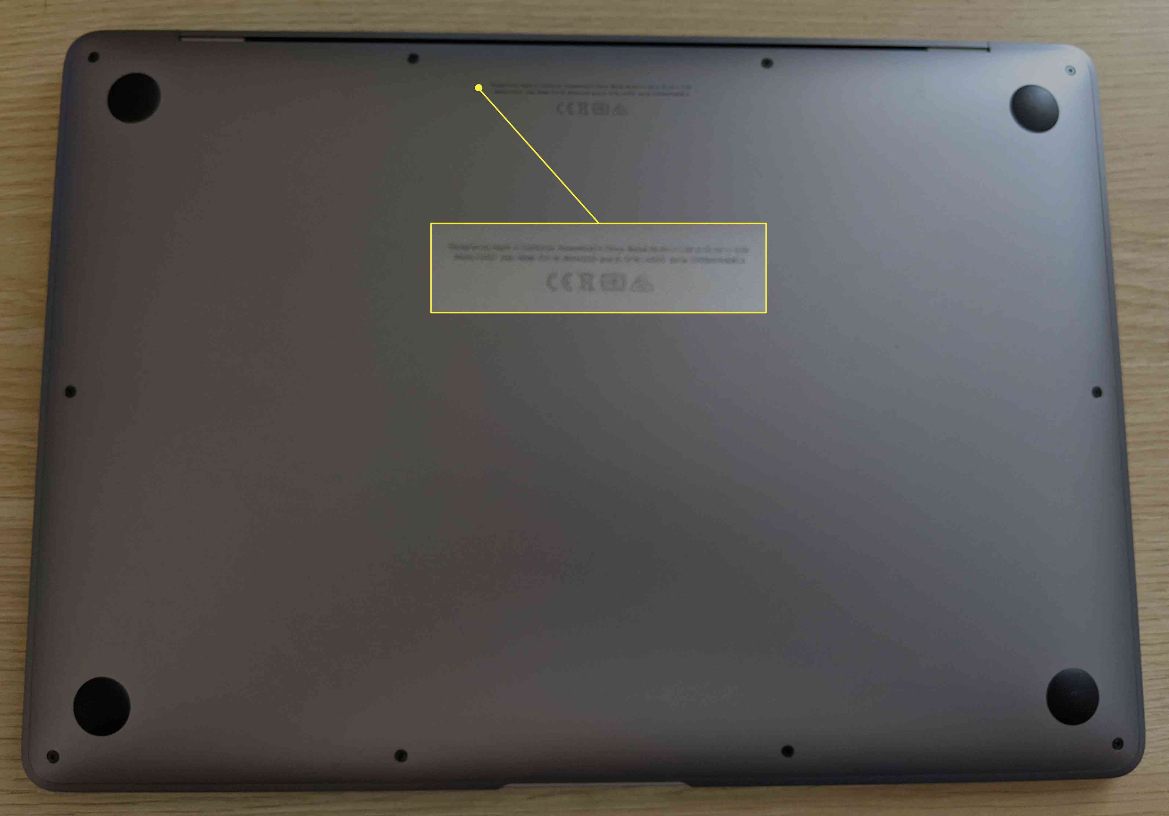 The bottom side of a MacBook Air.