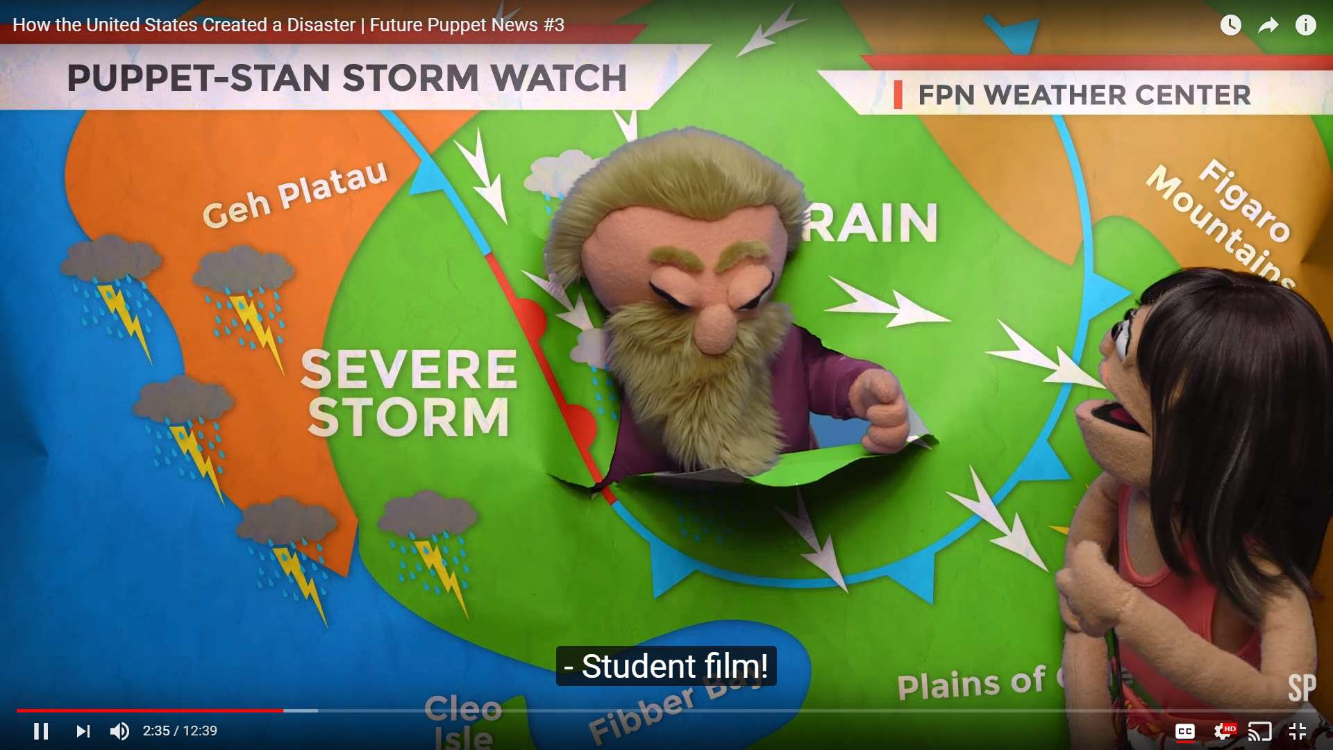Two puppets and a weather stream illustration
