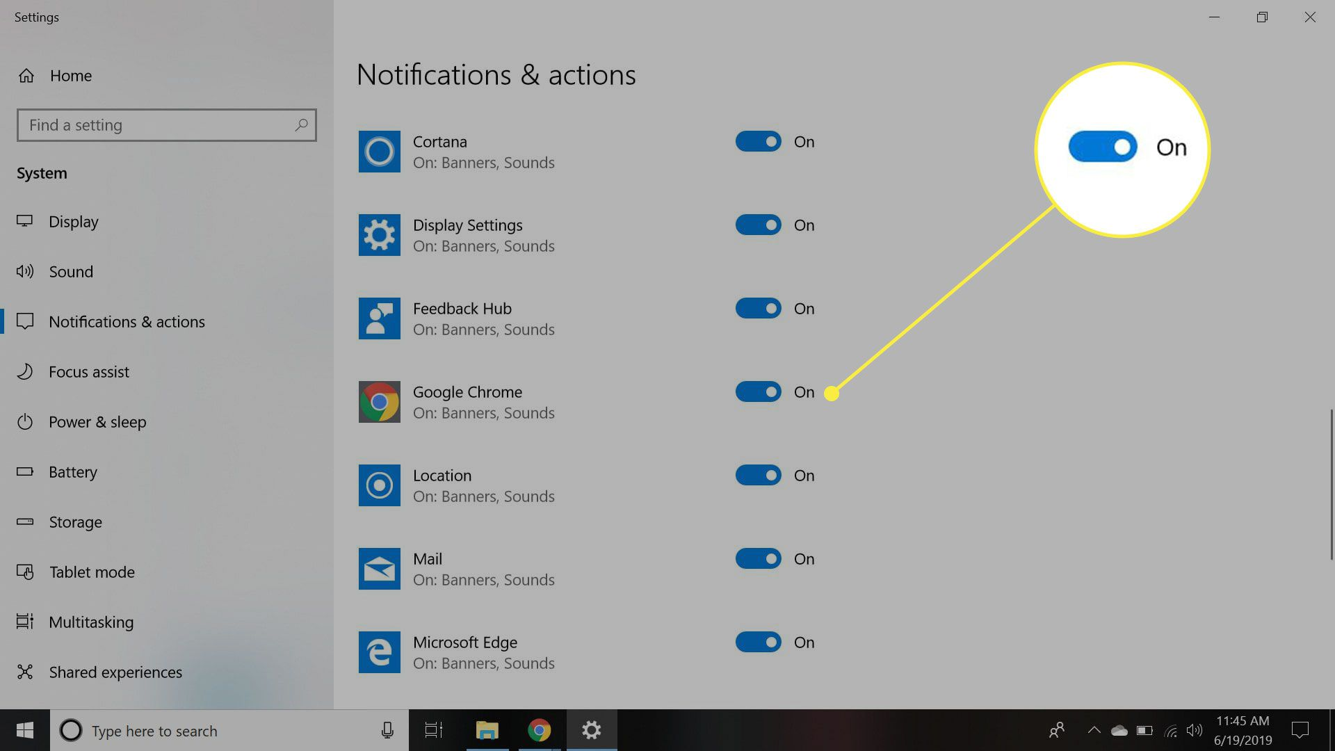 The Windows notifications settings with the Chrome switch highlighted