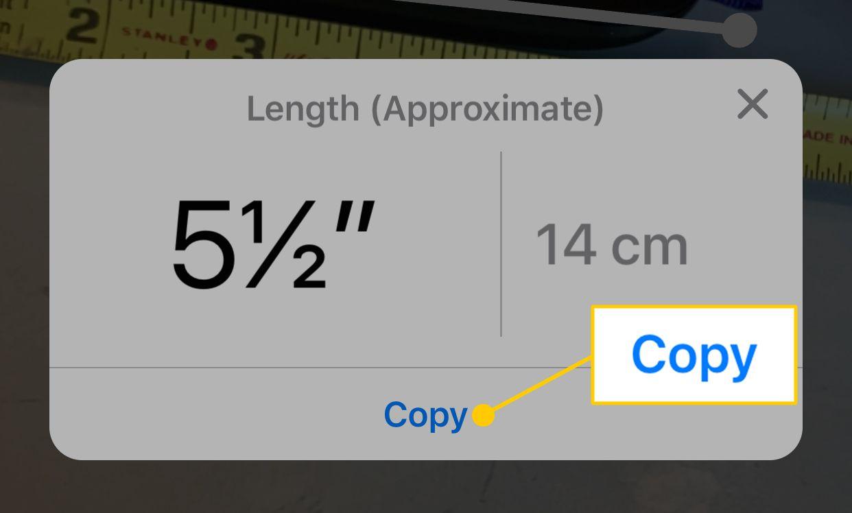 Copy button in the Measure app