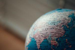 Globe showing China