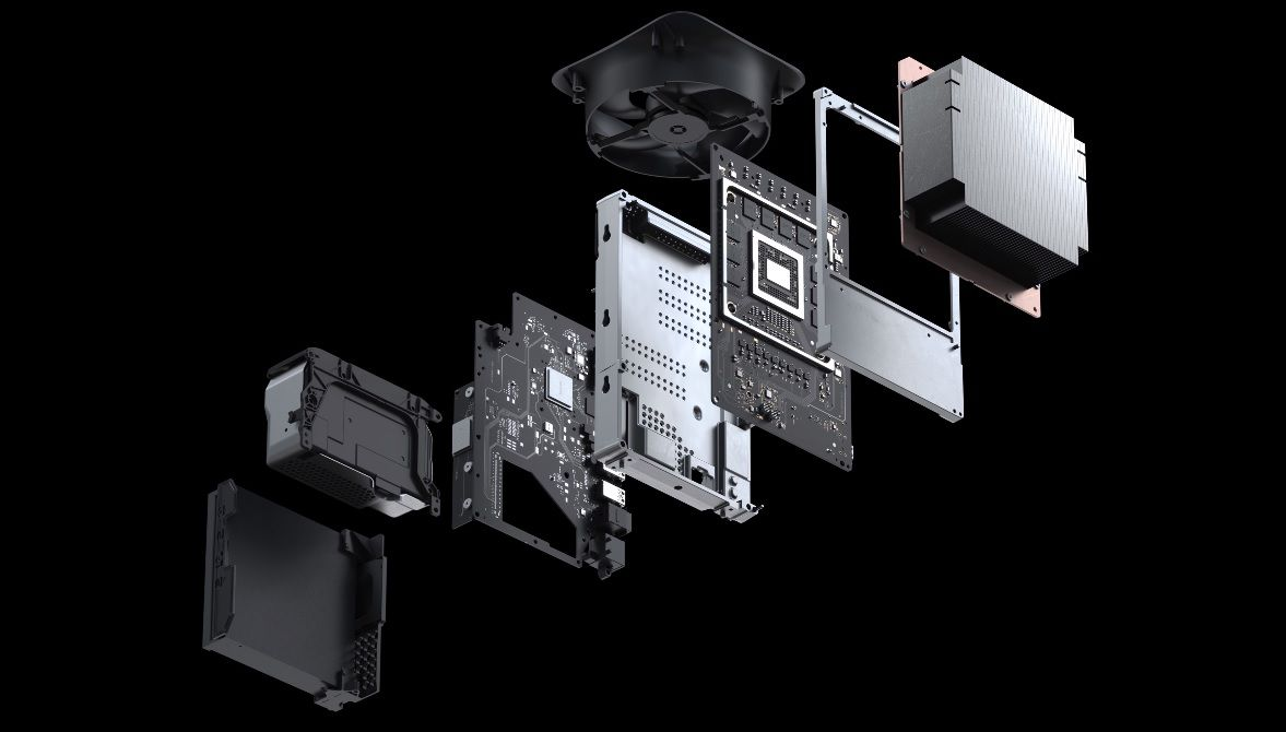 Xbox Series X in an exploded view of the console