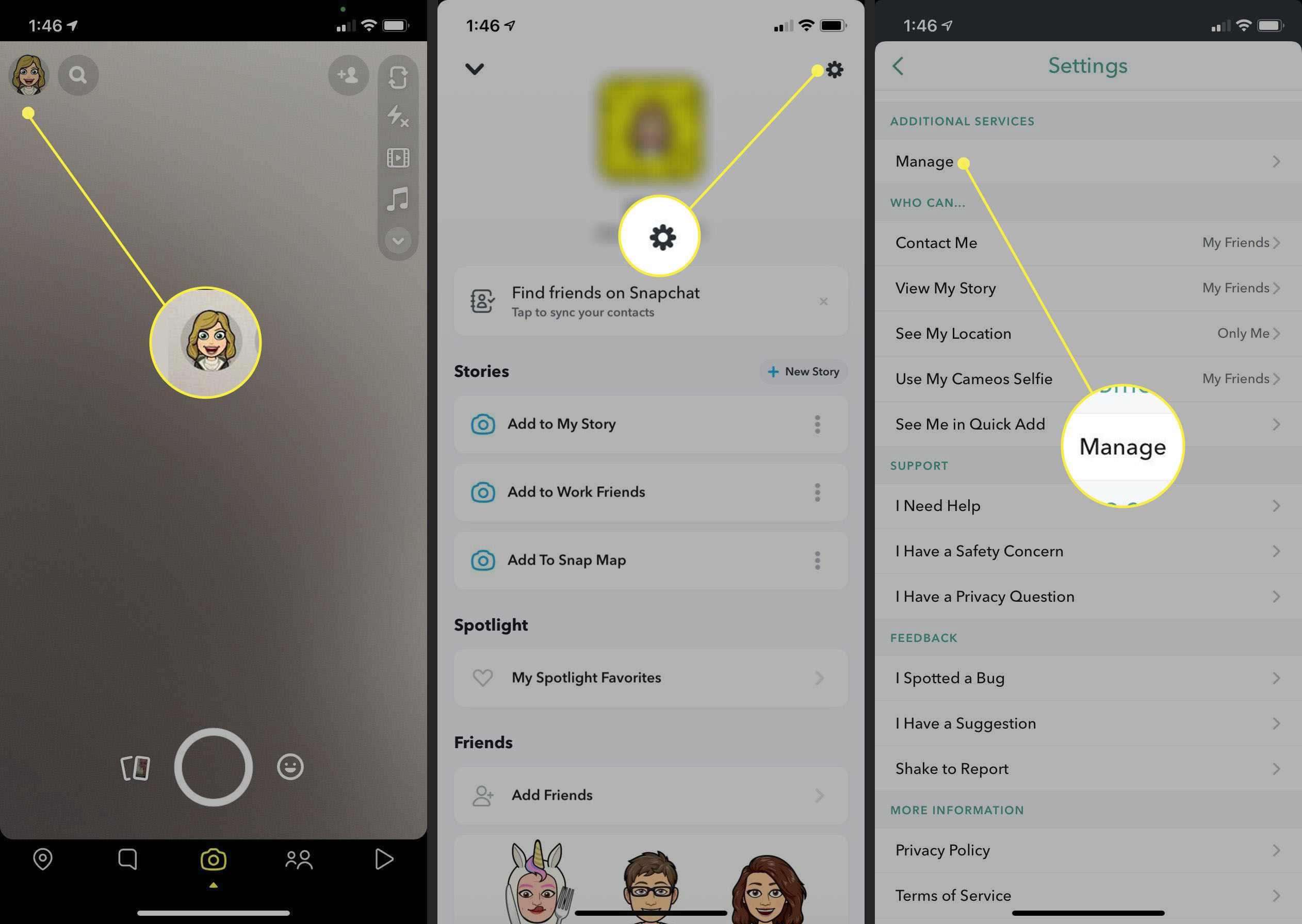 Steps to change emoji in conversation on Snapchat.