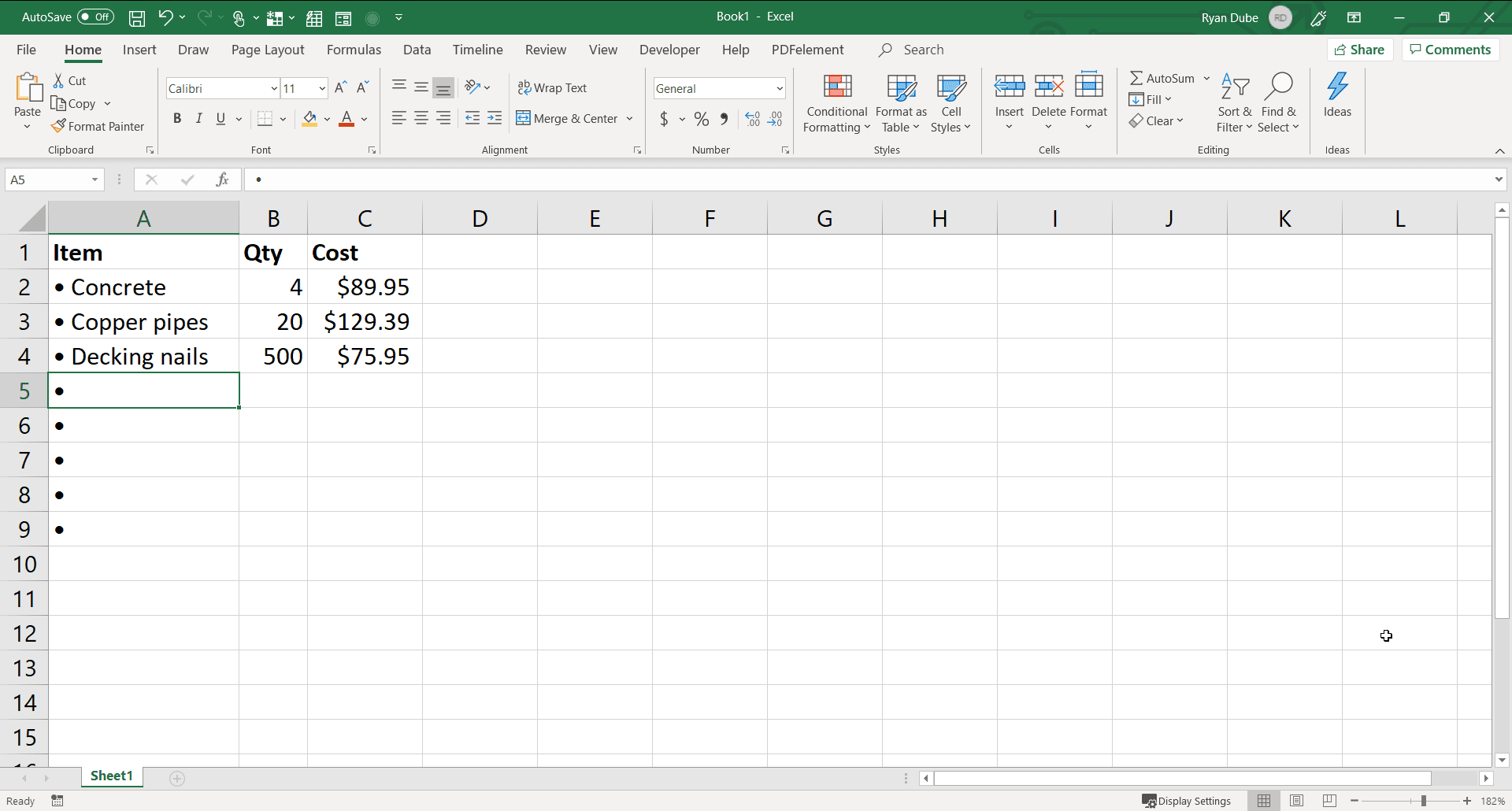 Screenshot of filling out an Excel bullet point list