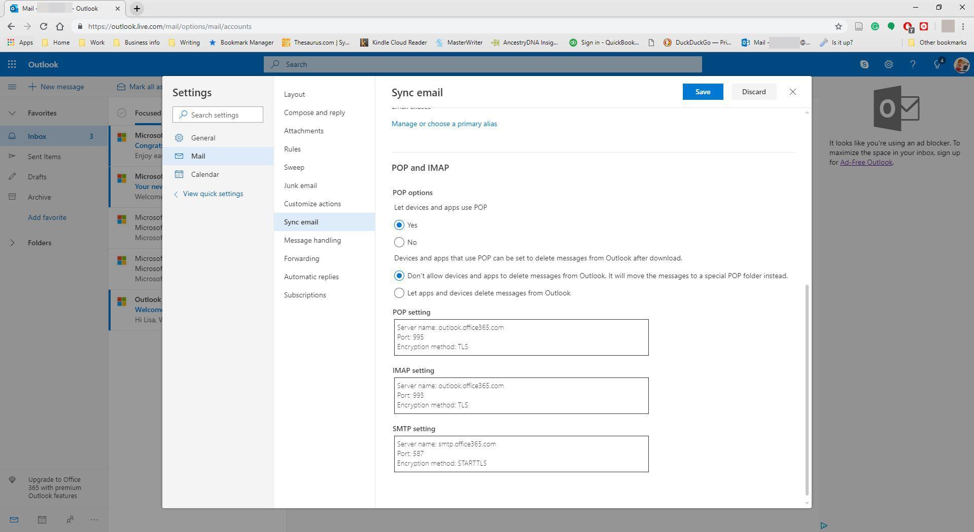 Enabling POP setting in Outlook.com.