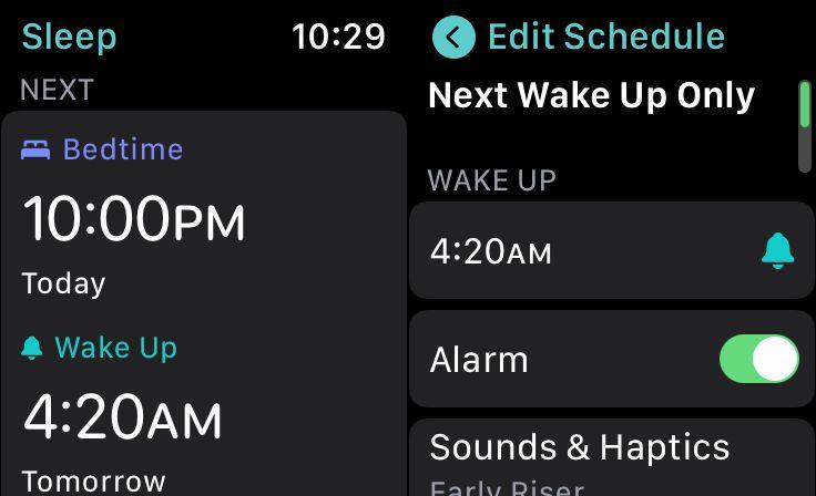 The Sleep app on the Apple Watch