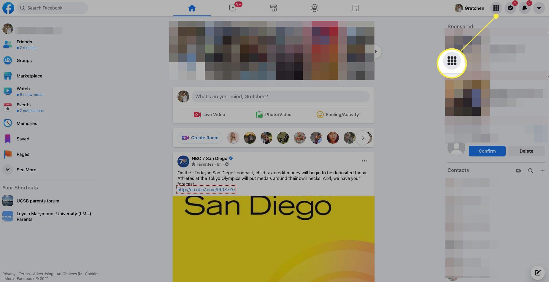 Facebook desktop version with menu icon highlighted