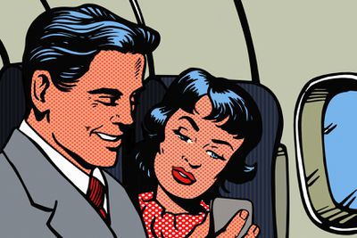 Classic cartoon version a couple on an airplane looking at a cell phone