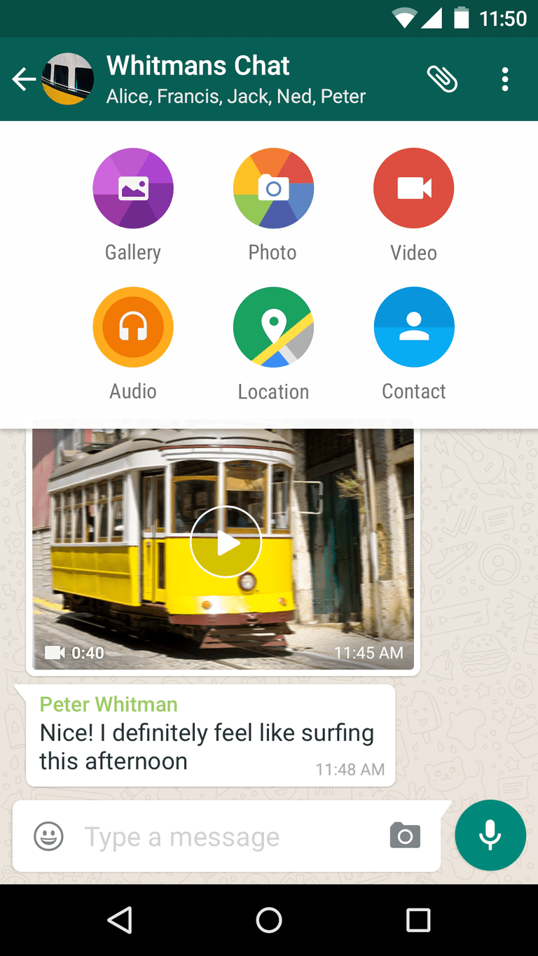 Whatsapp open on an Android phone