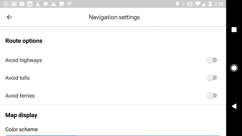 Screenshot of Google Maps route options
