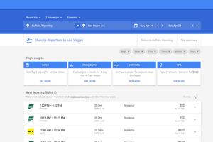 Google Flights homepage.