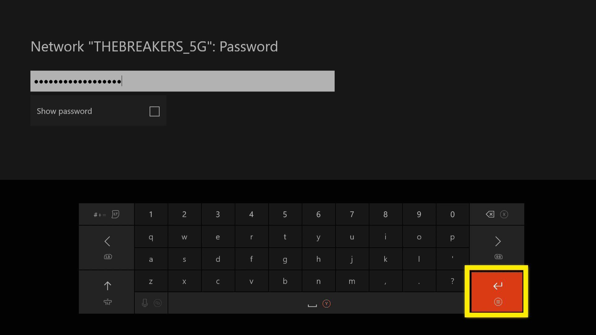 Xbox One wireless network password screen