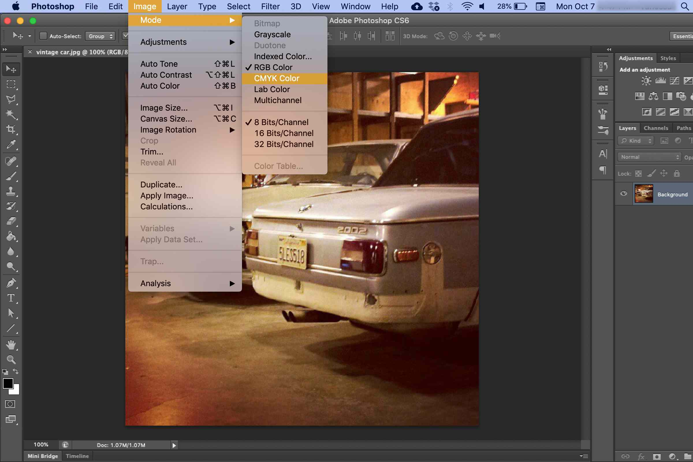 RBG CMYK conversion in Photoshop