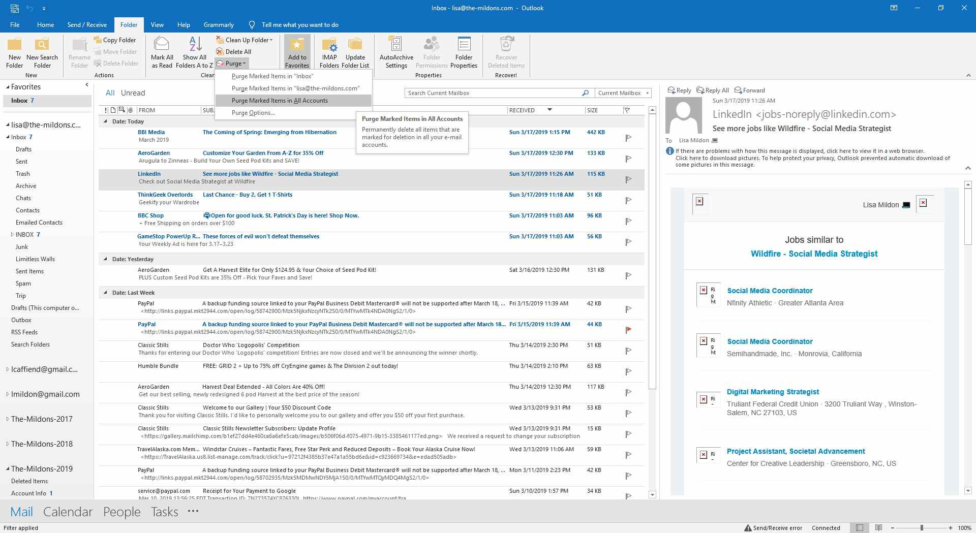 Viewing purging options within Outlook.