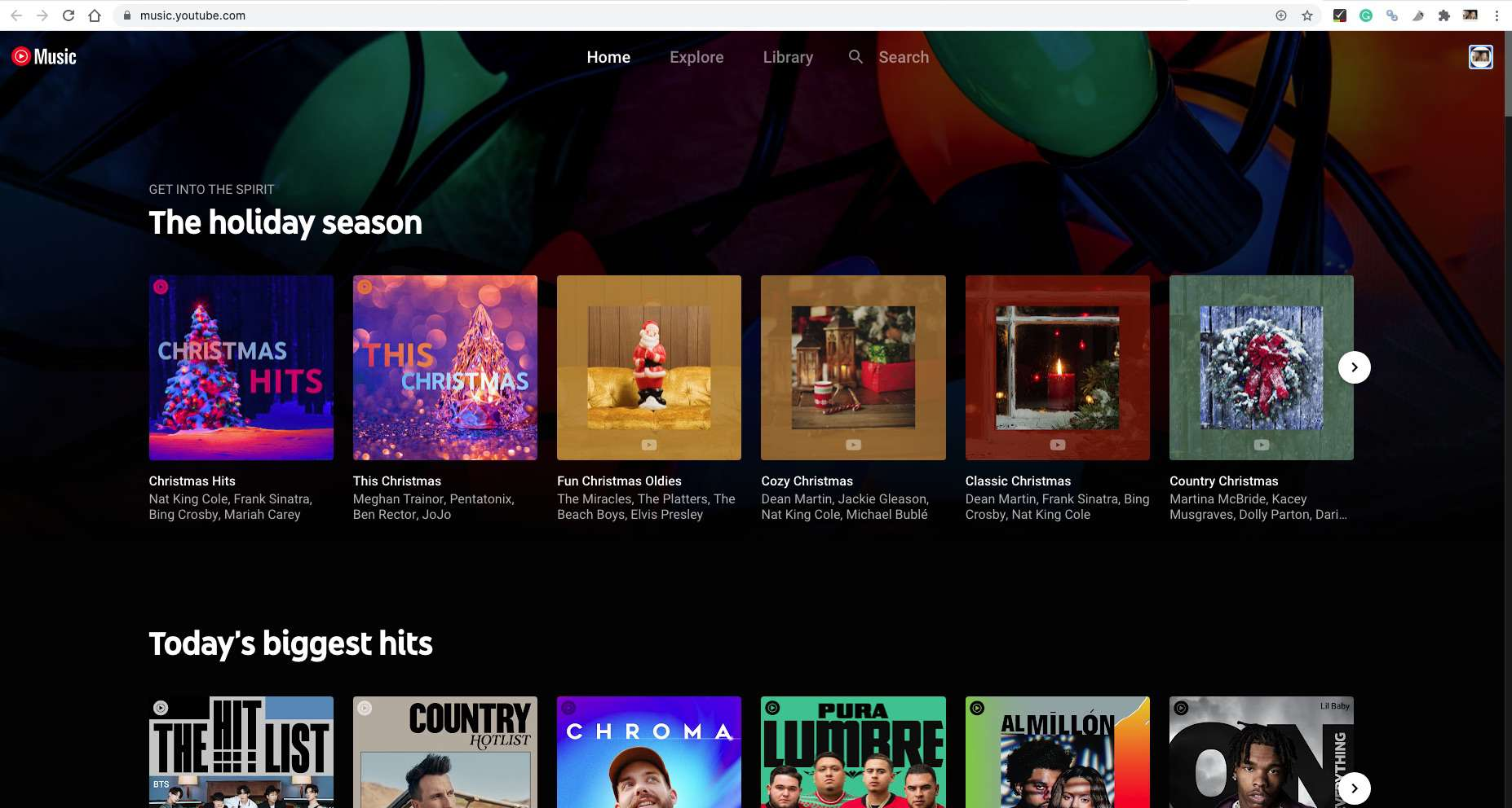 Navigate to YouTube Music on your Chromebook's default Chrome browser.
