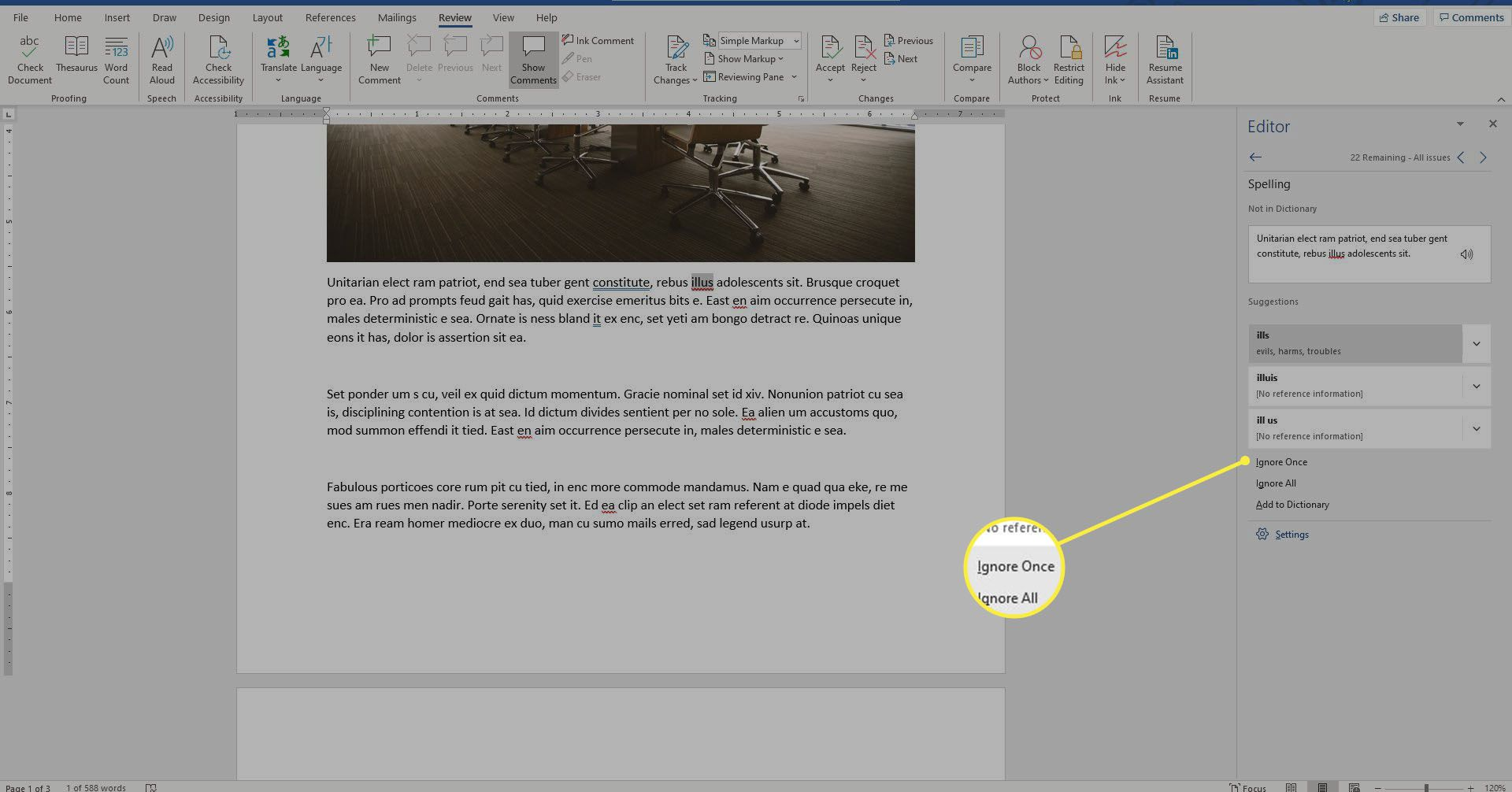 suggestions in Editor pane