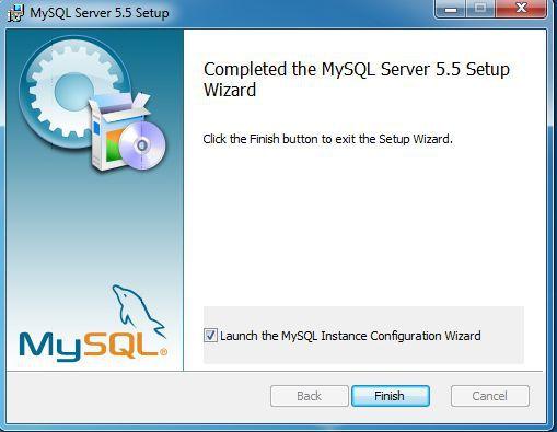 MySQL install Finish setup