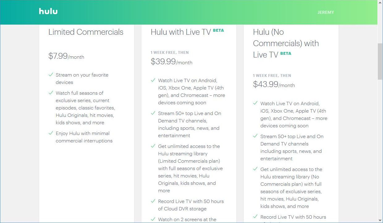 Choosing a Hulu with Live TV Plan