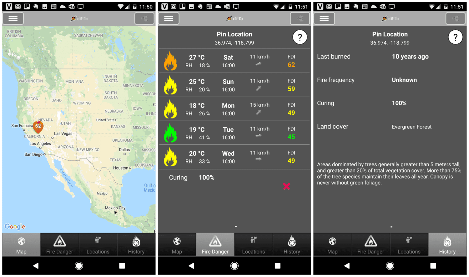 Screenshots of the AFIS mobile app