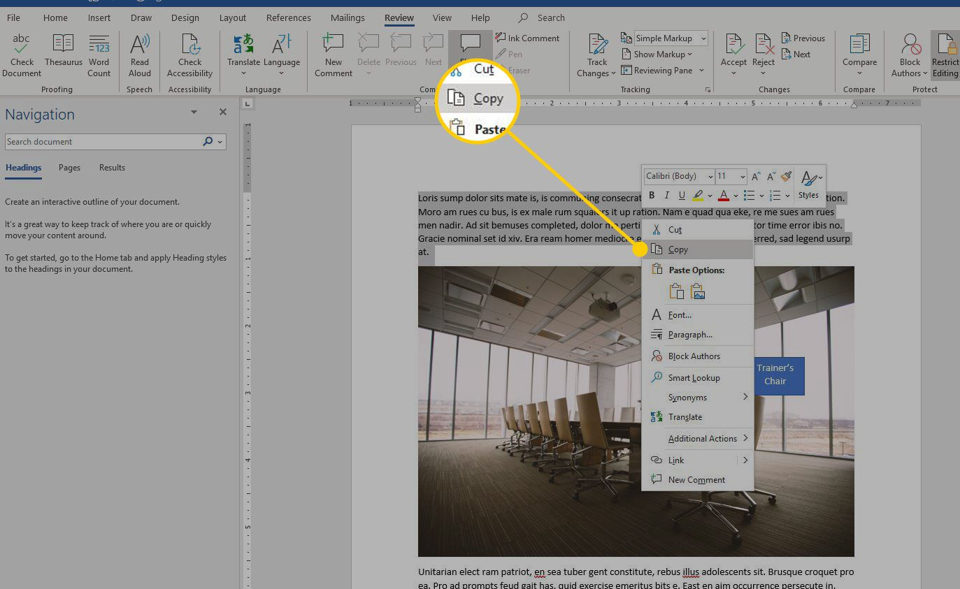 Option menu in Word with the Copy option highlighted