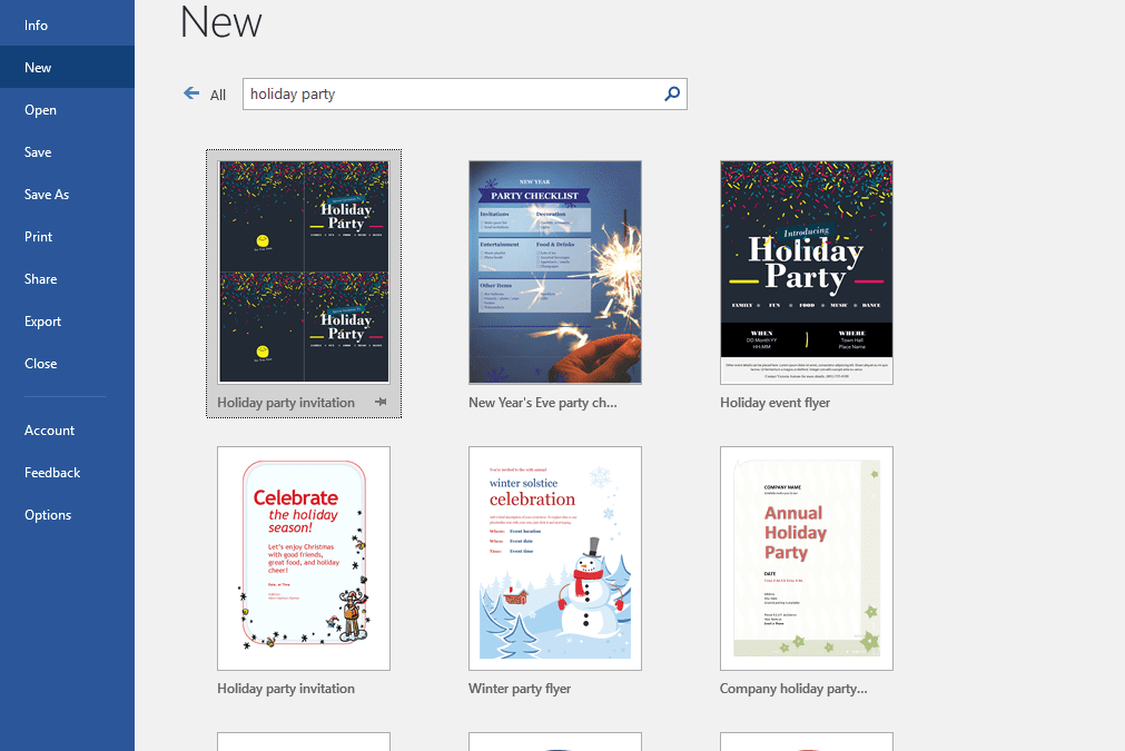 Screenshot of several free holiday party templates in MS Word
