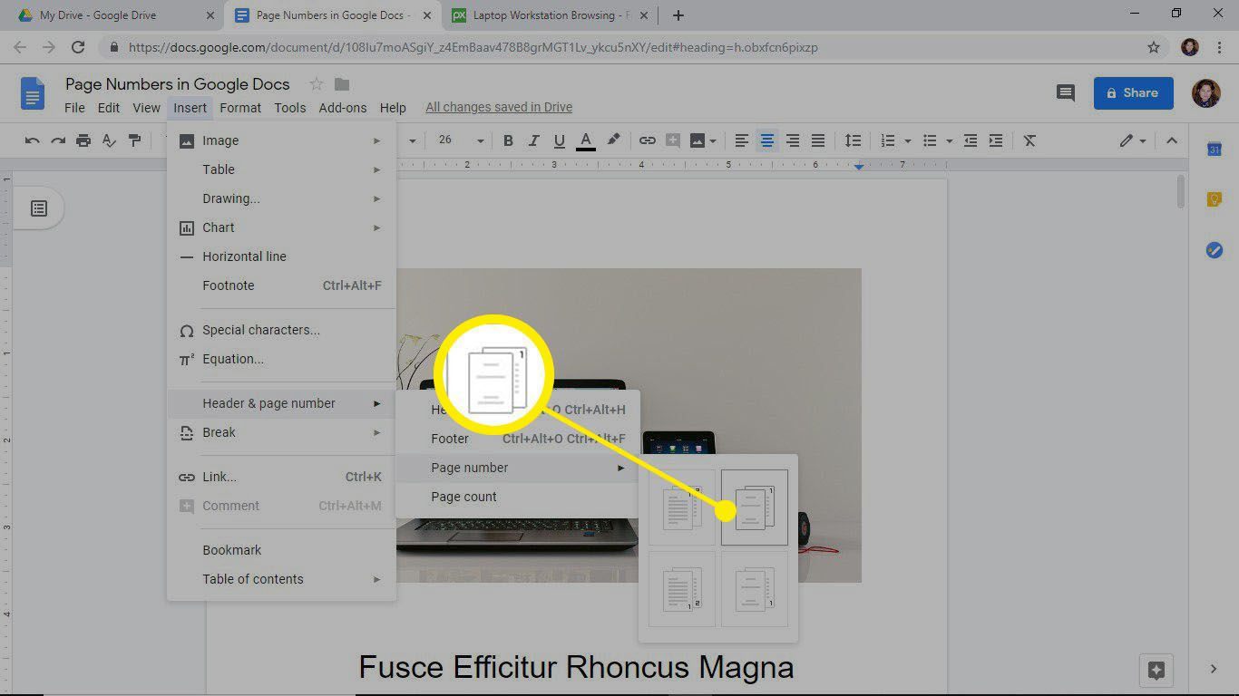 Add page numbers to every page but the first page in Google Docs