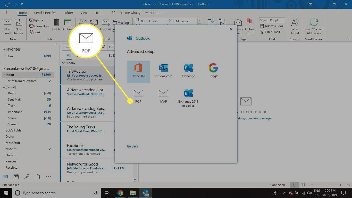 A screenshot of Outlook's Add Account screen with the POP option highlighted