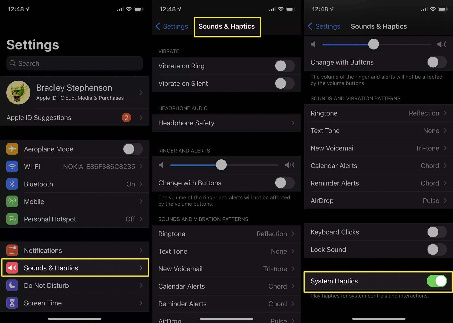 iOS haptic feedback vibration settings on iPhone.