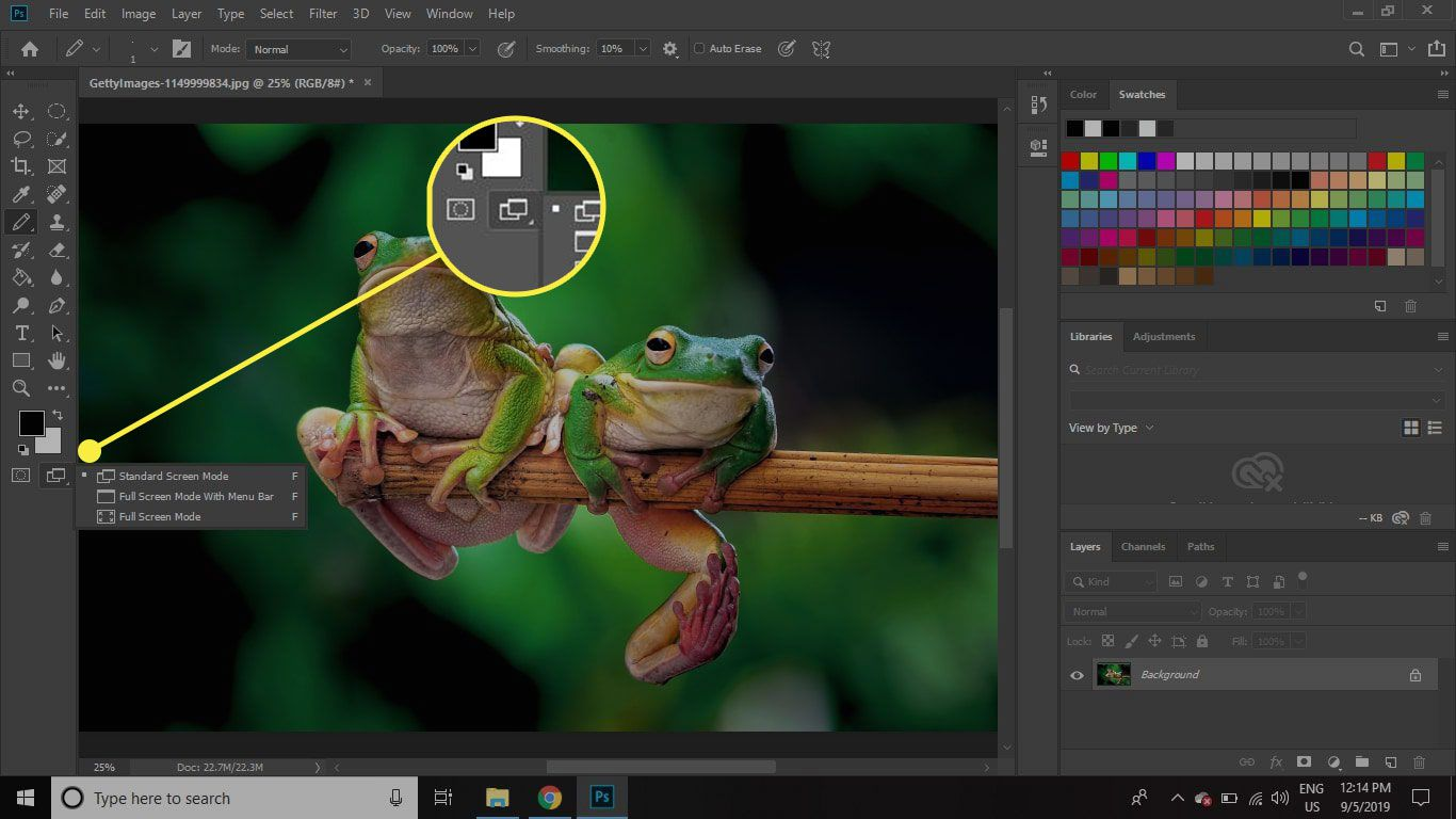 A screenshot of Photoshop with the Screen Mode button highlighted