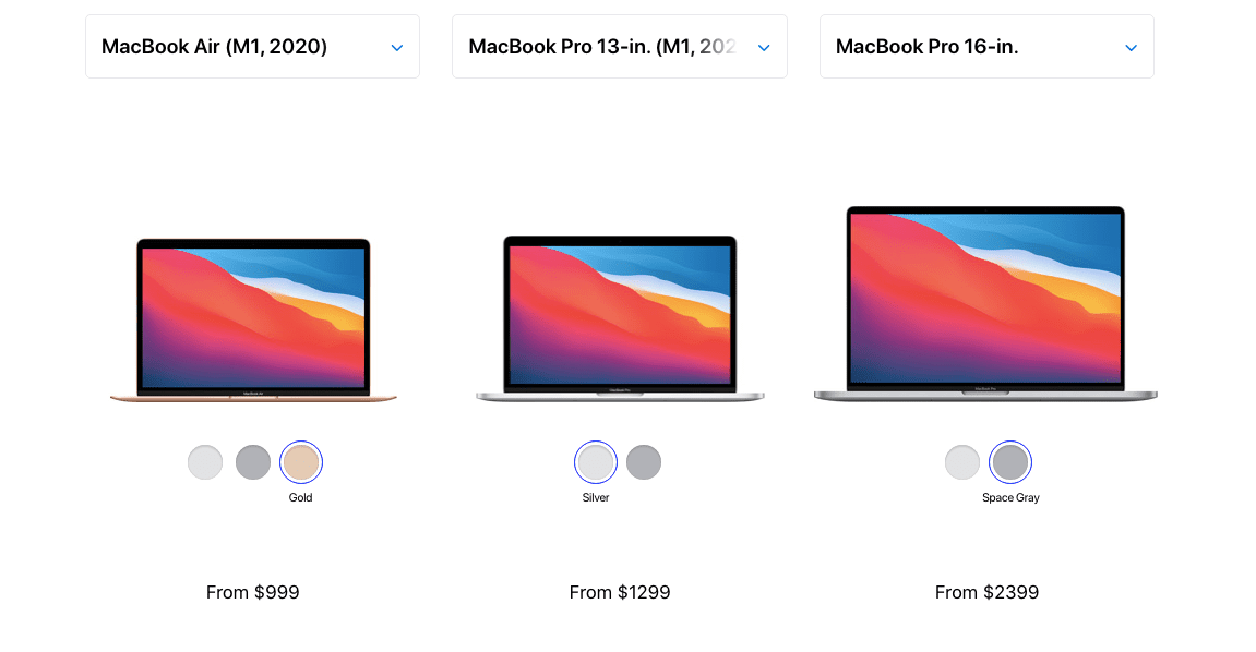 M1 MacBook Air, M1 MacBook Pro, and 16-inch MacBook Pro side by side on Apple's website