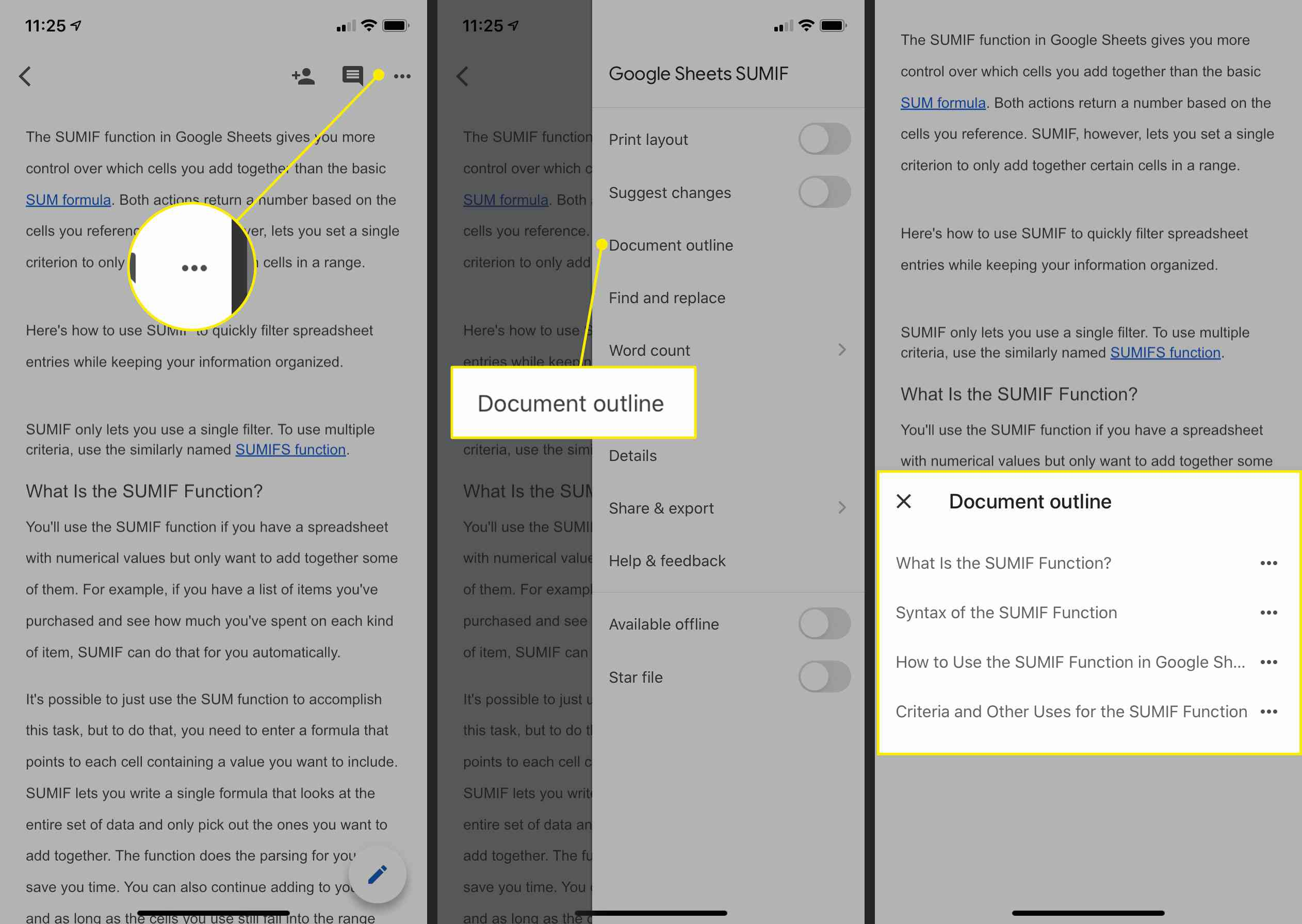 How to enable the document outline on an iOS device