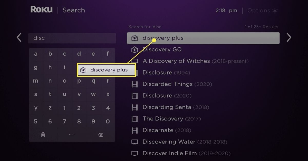 Discovery Plus in Roku search results