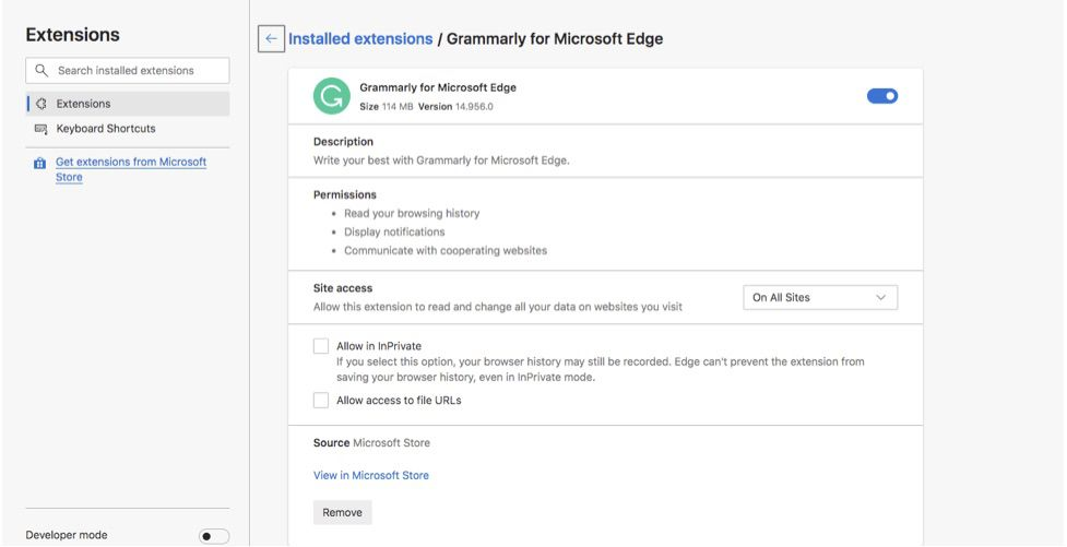Grammarly Edge extension details and options