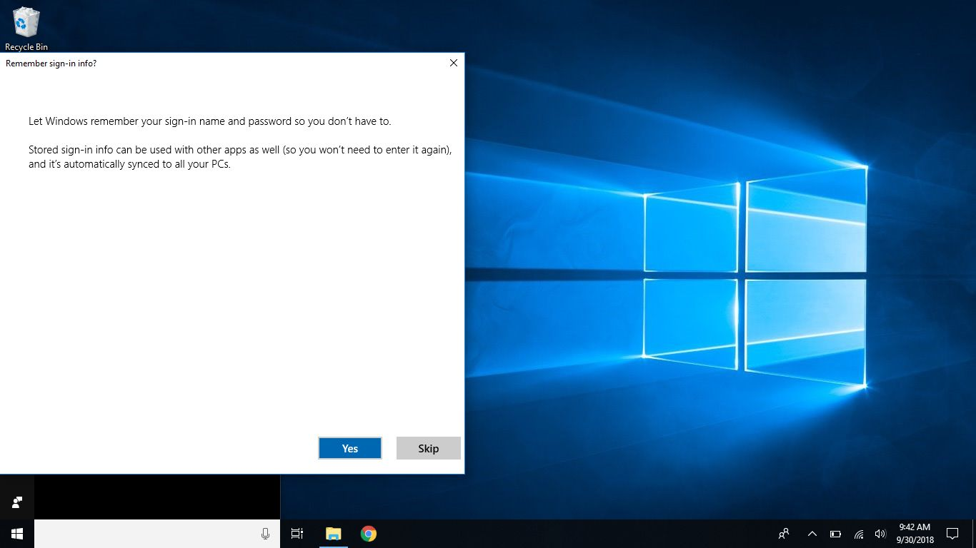 Windows screenshot that requests approval to remember sign-in and to sync settings to other systems.