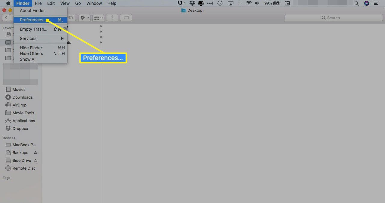 Finder menu with Preferences selected