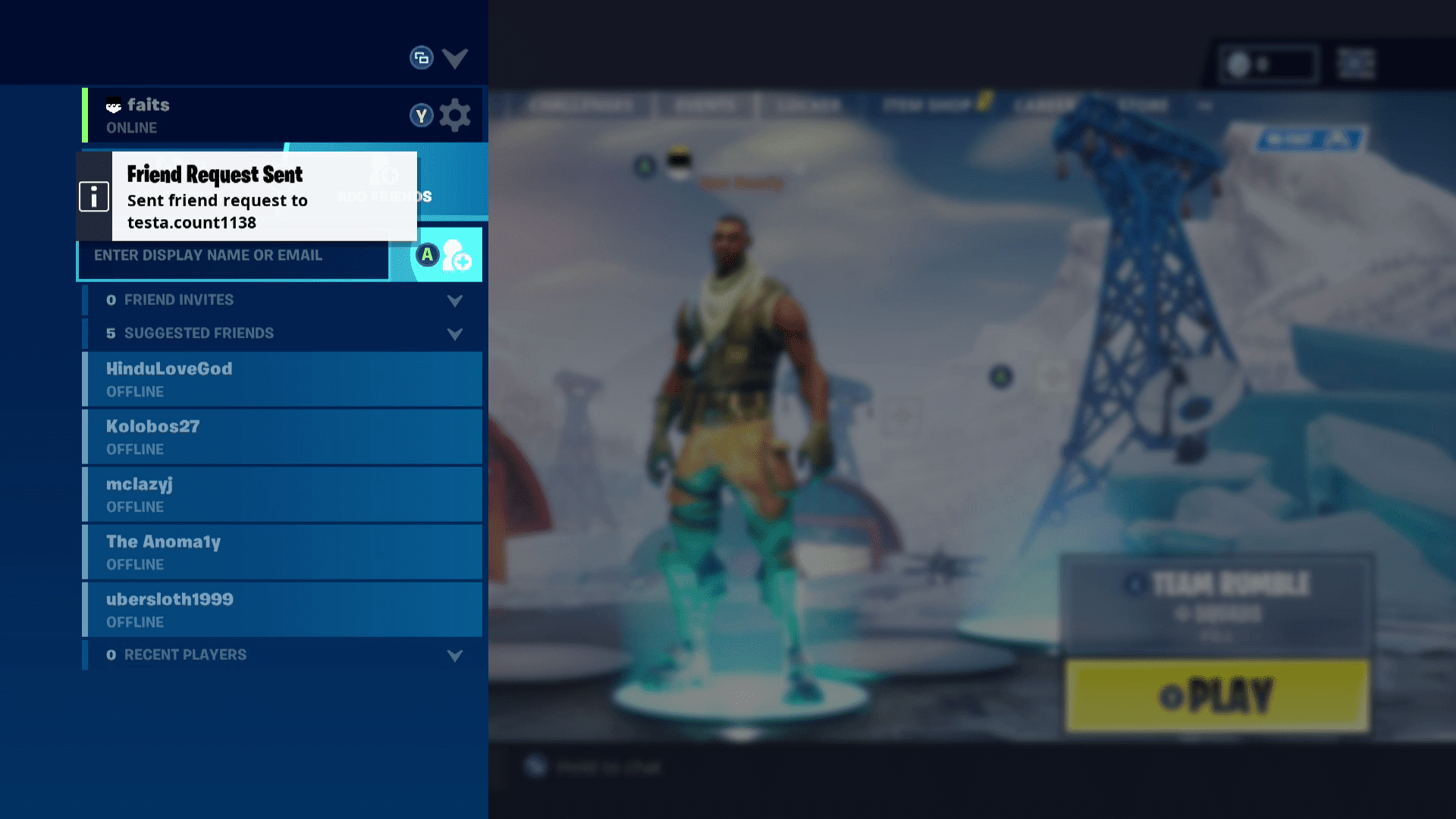 fortnite friend request - how to play fortnite offline on ps4
