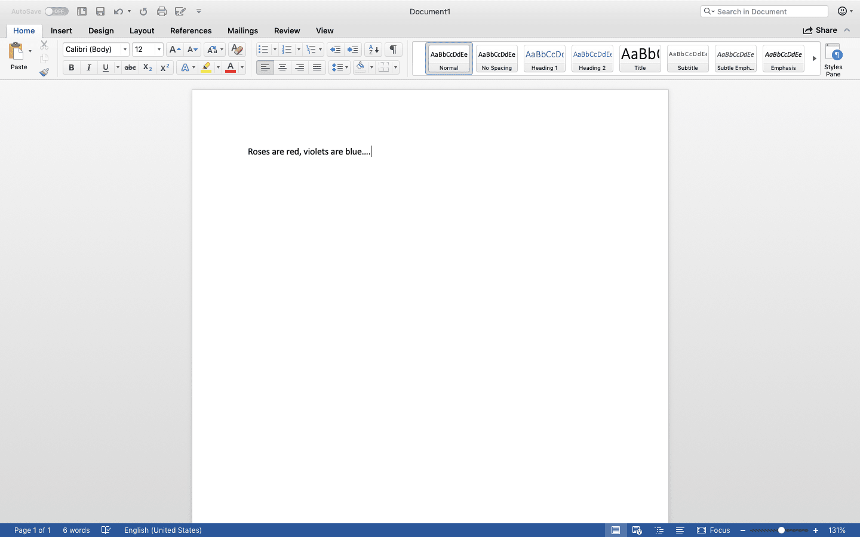 Microsoft Word on desktop
