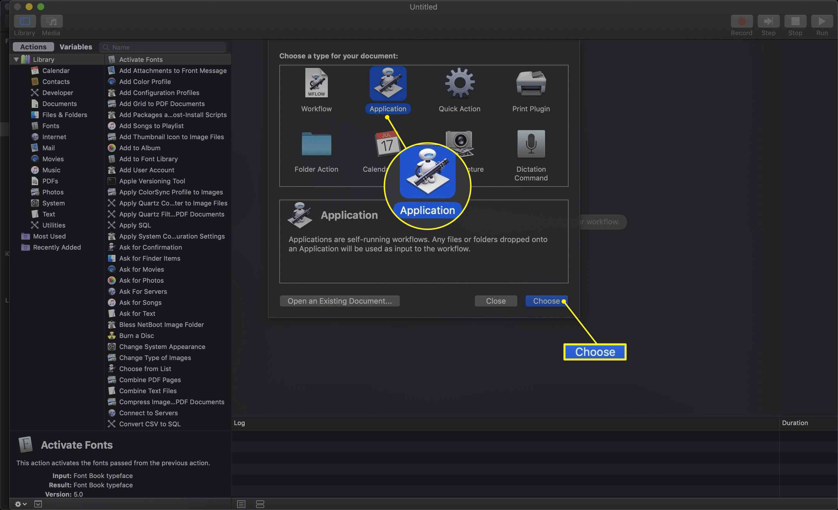 Automator with Application selected and Choose highlighted