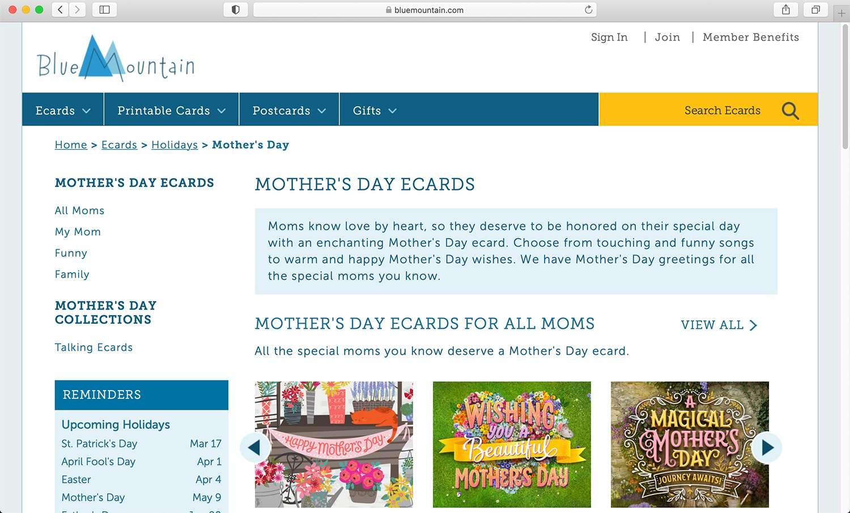 Blue Mountain e-card subscription site for numerous purposes