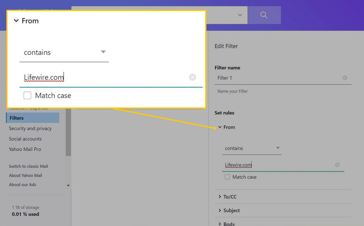 Set rules section in Yahoo Mail