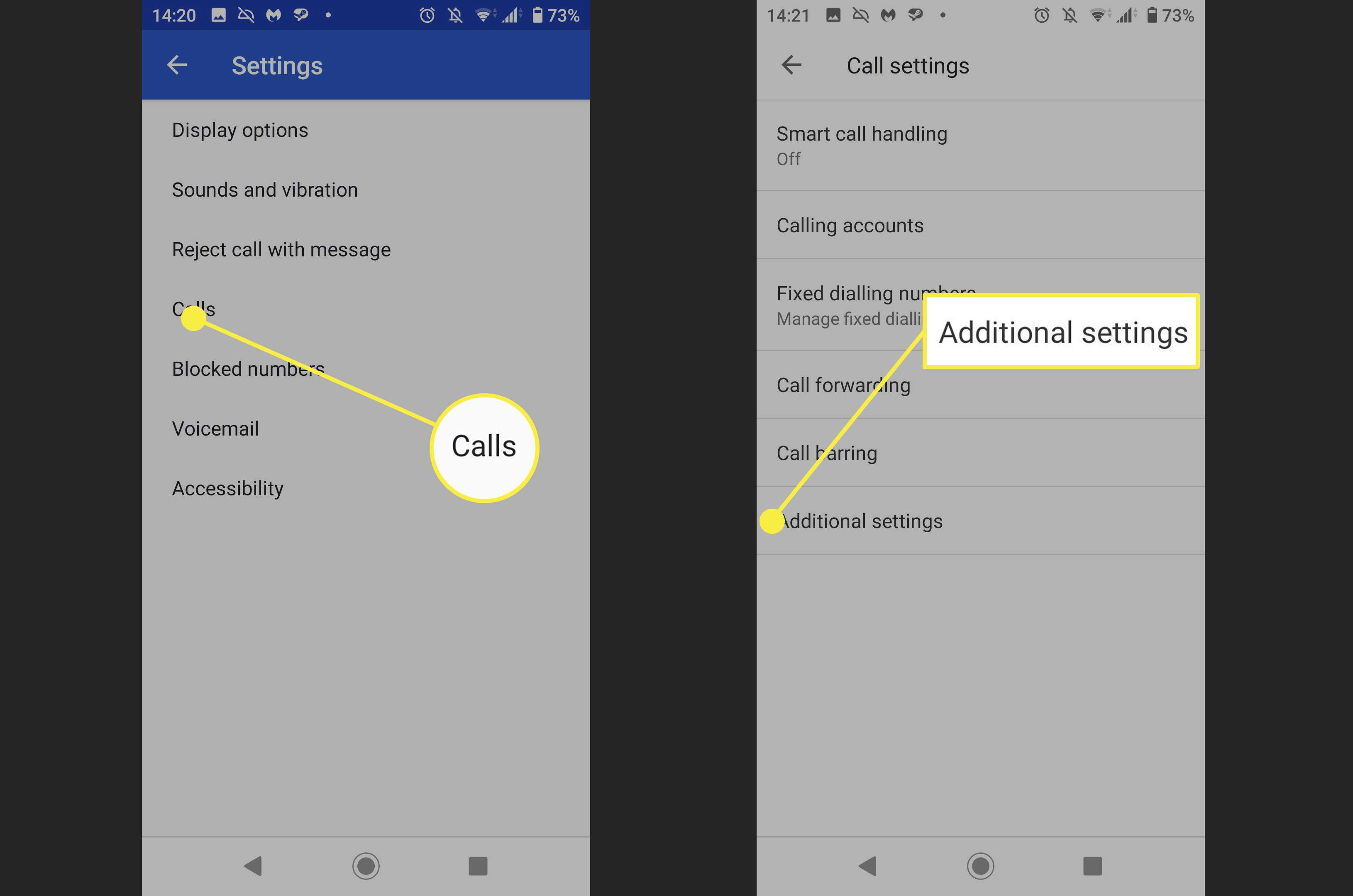 Screenshots of where to find Additional Settings in the Phone app on Android.